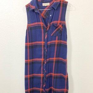 Plaid Sleeveless Button Dress